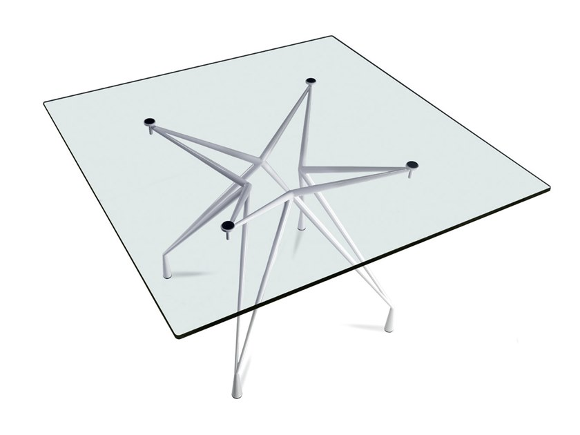 Square crystal and steel table APOLLO TQ by Casprini