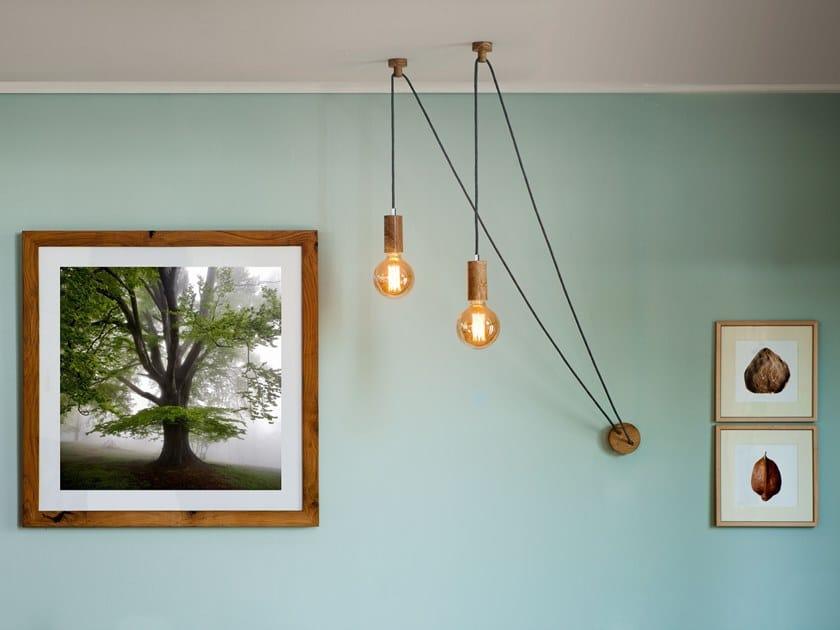Lampada a sospensione regolabile in legno applique by xilolab
