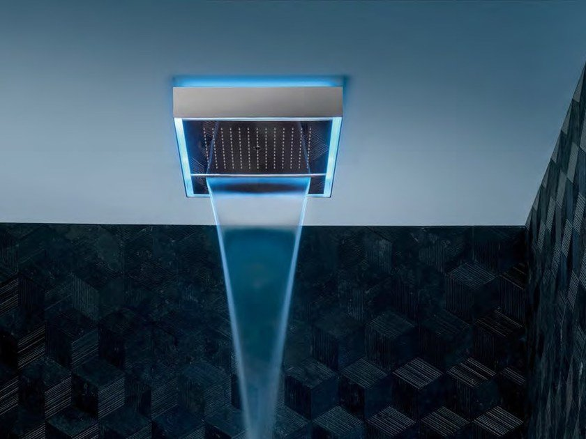 Ceiling mounted overhead shower with chromotherapy AQUADOLCE - L051 by Fantini Rubinetti