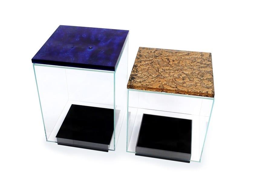 Square glass coffee table AQUARIUS by Baranska Design