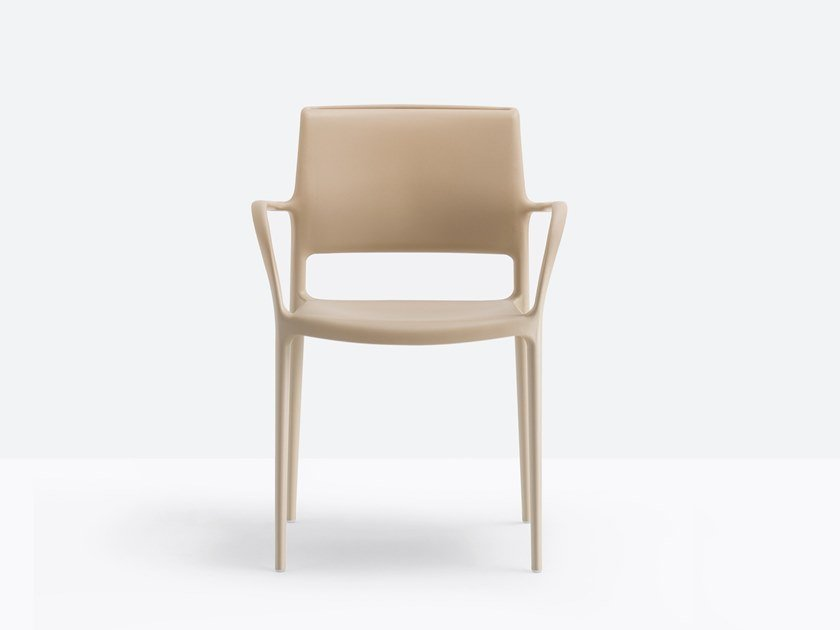 Polypropylene chair with armrests ARA 315 by PEDRALI