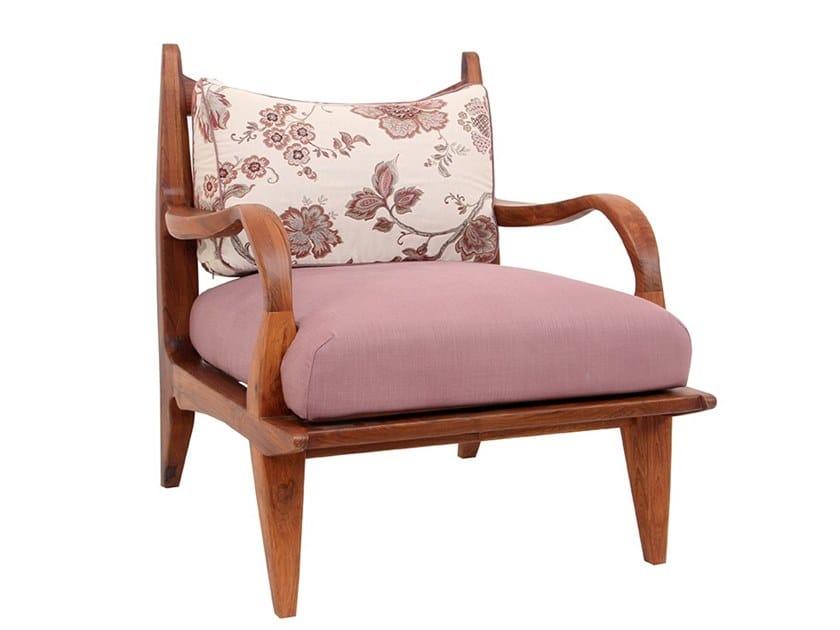 Fabric easy chair with armrests ARAAL | Easy chair by ALANKARAM