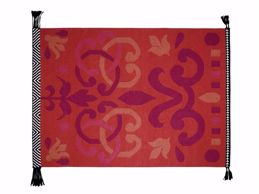 Rectangular wool rug ARABESCO ROJO by GAN