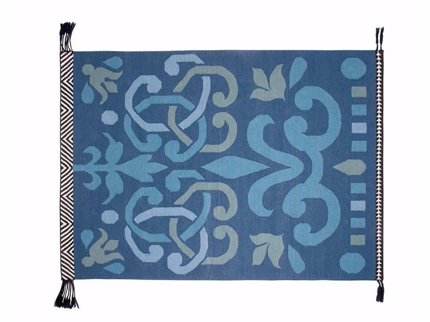 Rectangular wool rug ARABESCO VERDE by GAN