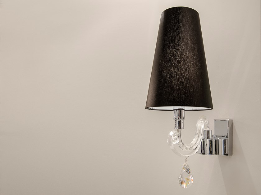 Direct-indirect light crystal wall lamp with fixed arm ARABIAN PEARLS W1 by ILFARI