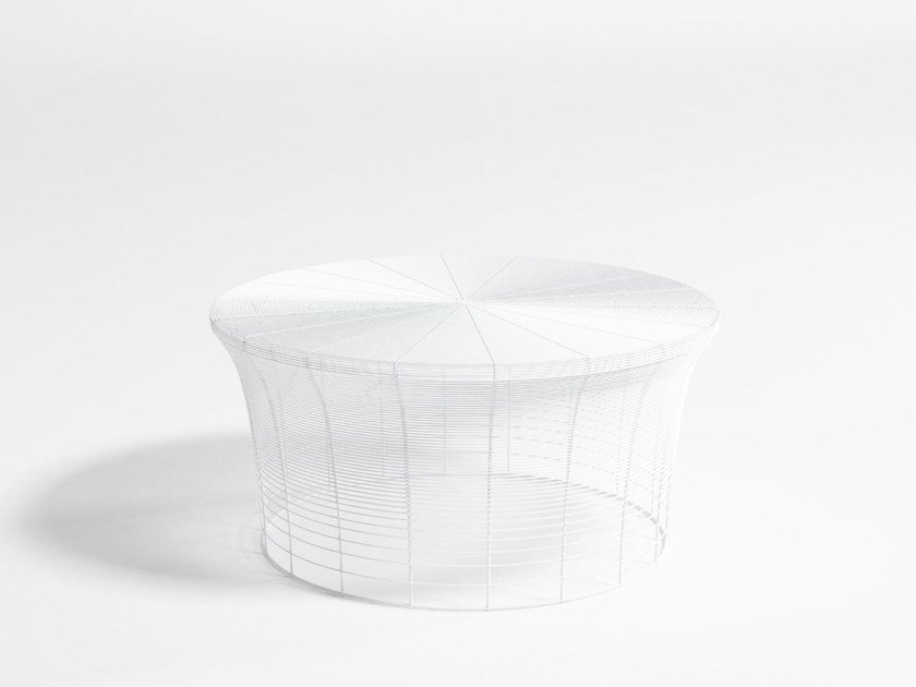 Low round stainless steel garden side table ARAM | Low coffee table by GANDIA BLASCO