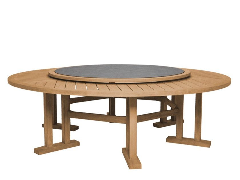 Round Teak Dining Table With Lazy Susan, Round Outdoor Dining Table With Lazy Susan