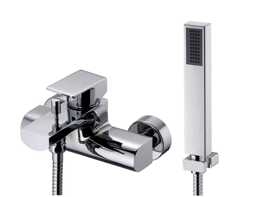 Wall-mounted bathtub/shower  mixer with hand shower ARCH | Bathtub mixer with hand shower by JUSTIME