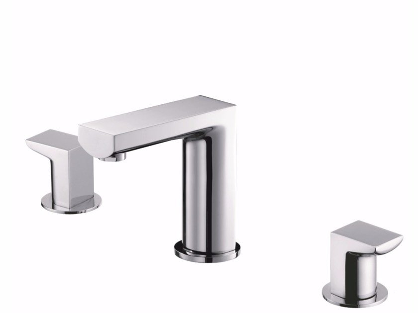 3 hole countertop brass washbasin tap ARCH | Countertop washbasin tap by JUSTIME