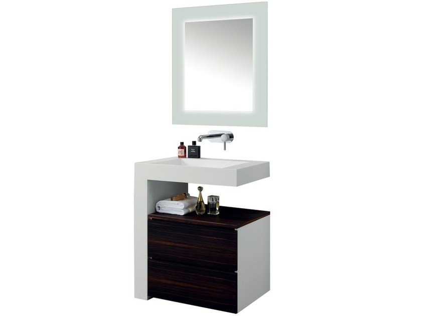 Vanity unit with drawers with mirror ARCHE ANGLE by Swiss Concepts