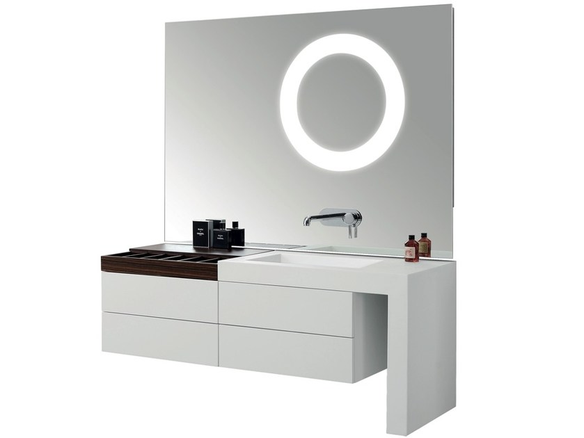 Vanity unit with drawers with mirror ARCHE DCL by Swiss Concepts