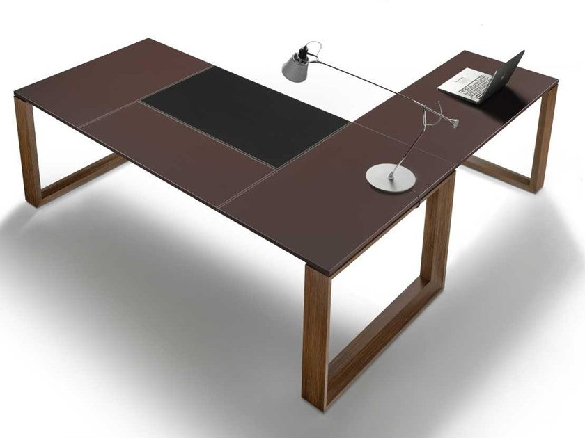 L-shaped tanned leather executive desk ARCHE | L-shaped office desk by Bralco