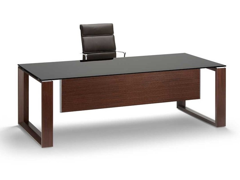 Tempered glass executive desk ARCHE | Tempered glass office desk by Bralco