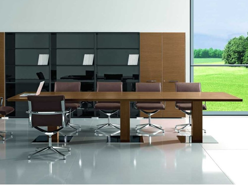 Rectangular walnut meeting table ARCHE | Walnut meeting table by Bralco