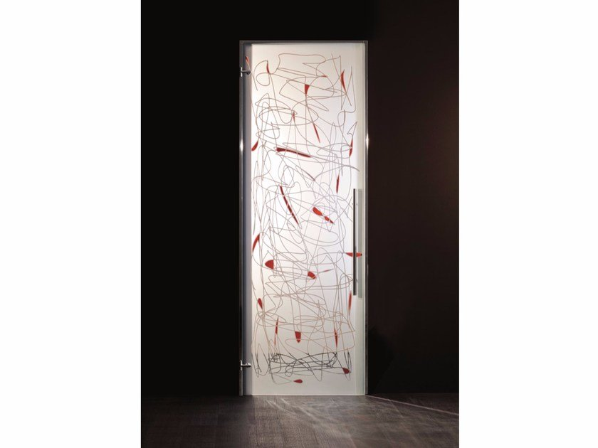 Hinged decorated glass door ARCHEA by Casali