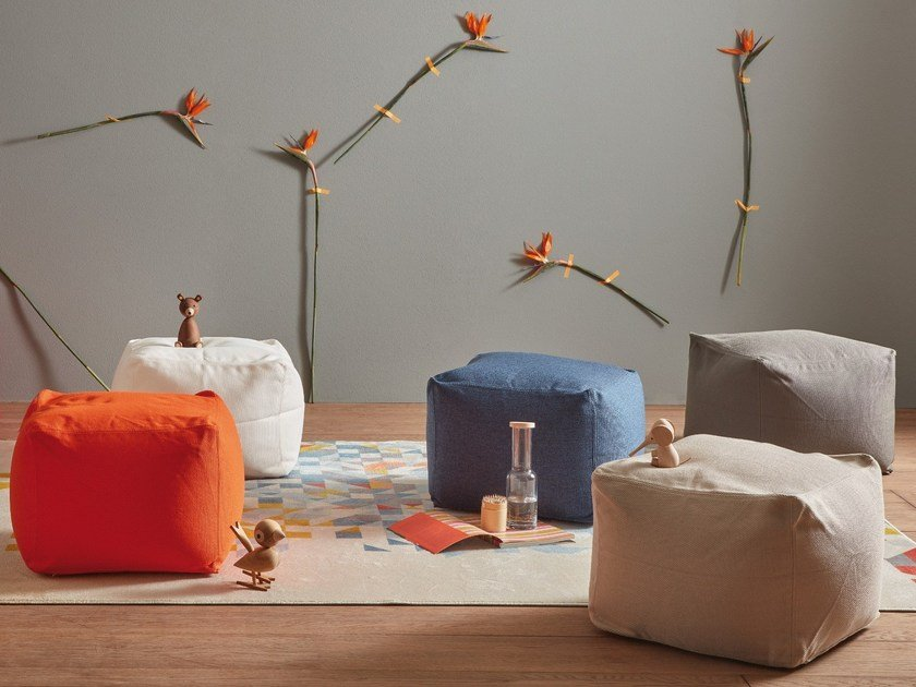 Upholstered technical fabric pouf ARCHIMEDE by MEMEDESIGN