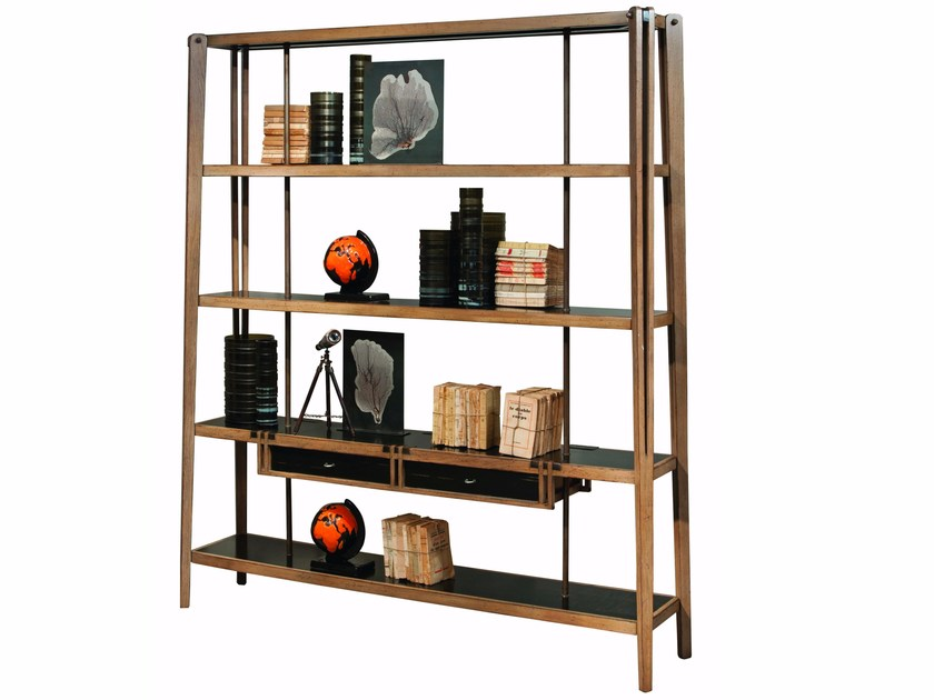 Open Double Sided Solid Wood Bookcase Archimede By Roche Bobois