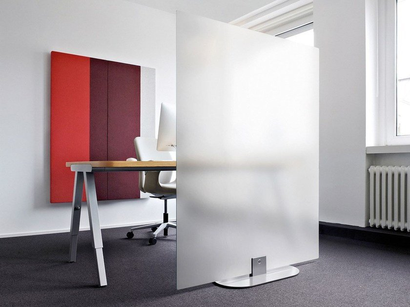 Pannello divisorio fonoassorbente free standing ARCHITECTS GLASS GROUND by Acousticpearls