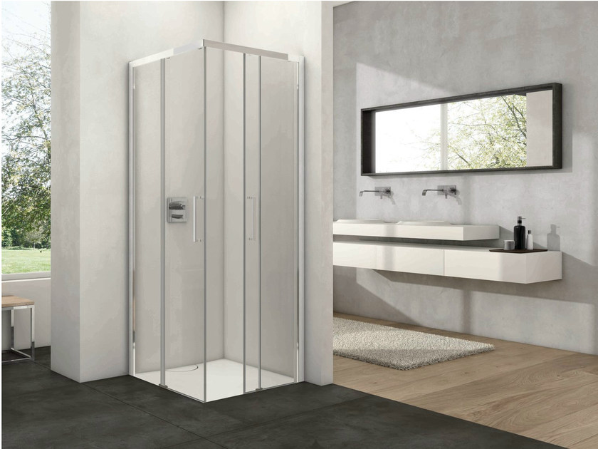 Corner shower cabin with sliding door ARCO FREE by Provex Industrie