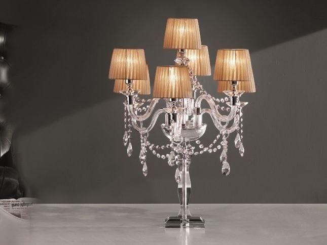 Table lamp with Swarovski® crystals ARCOBALENO F6+1L by Euroluce Lampadari