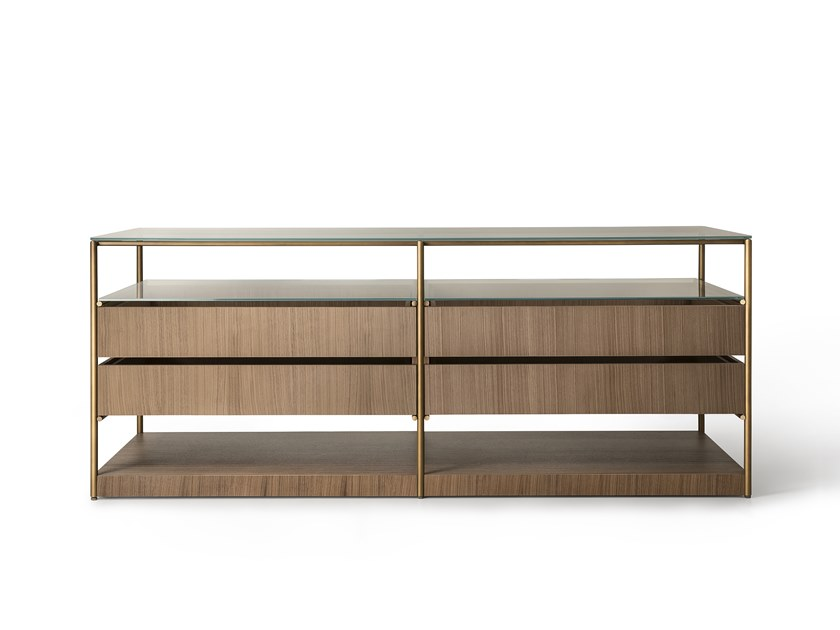 Wood and glass chest of drawers AREIA by Lema