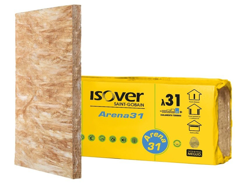 Mineral wool Thermal insulation panel / Sound insulation and sound absorbing panel in mineral fibre ARENA 31 by Saint-Gobain ISOVER