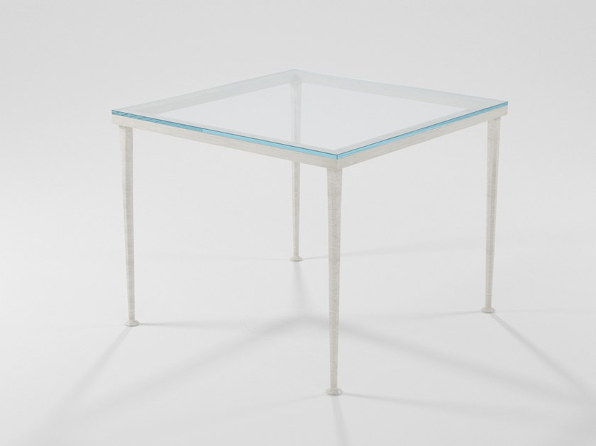 Square table in forged solid iron and crystal ARGE | Square table by Barel