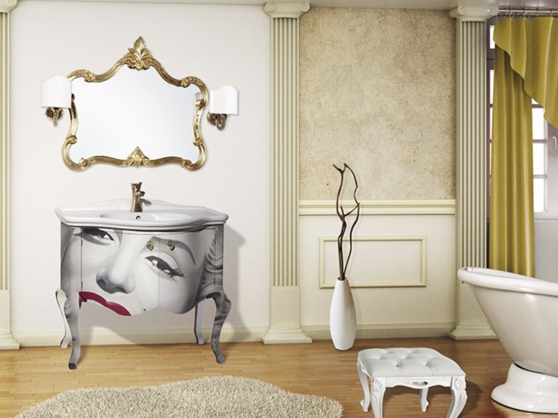Vanity unit with doors with mirror ARGO CM26CY by LA BUSSOLA