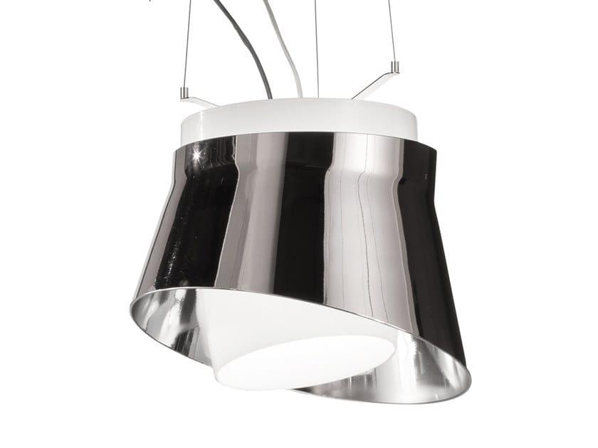 Glass and steel pendant lamp ARIA SP by Vetreria Vistosi