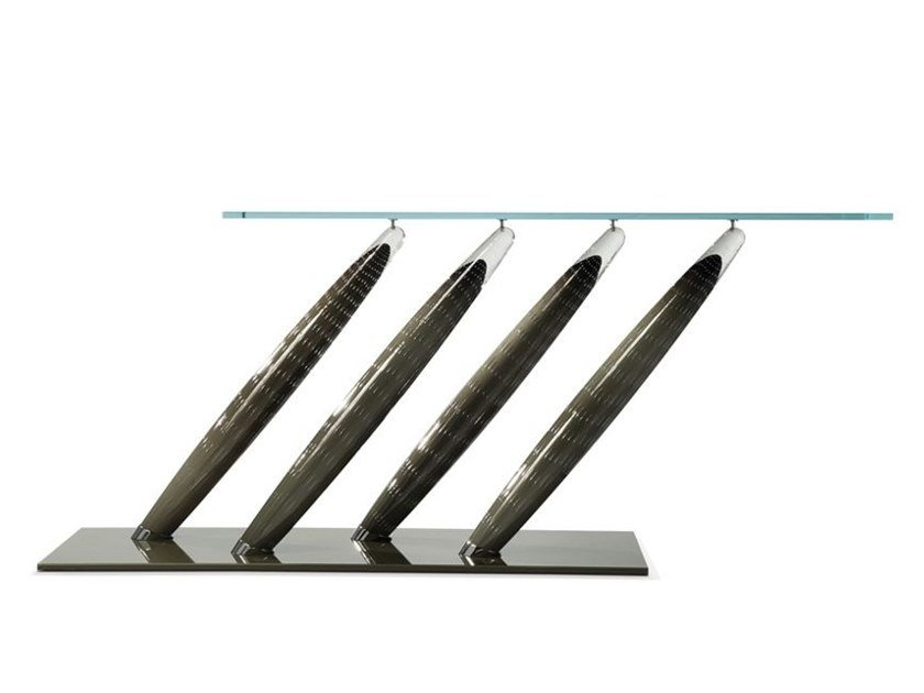 Lacquered rectangular glass console table ARIANE by ROCHE BOBOIS
