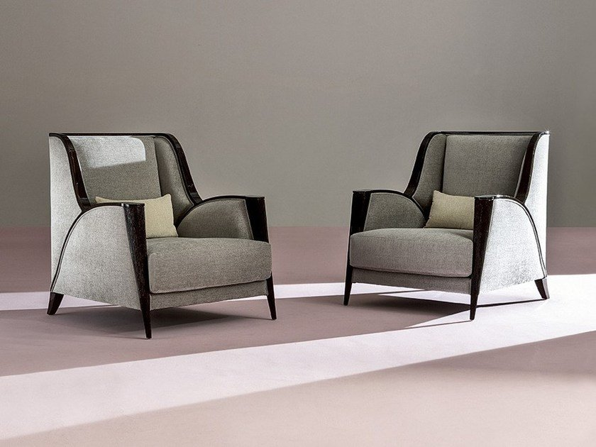 Bergere fabric armchair BREZZA by Rozzoni