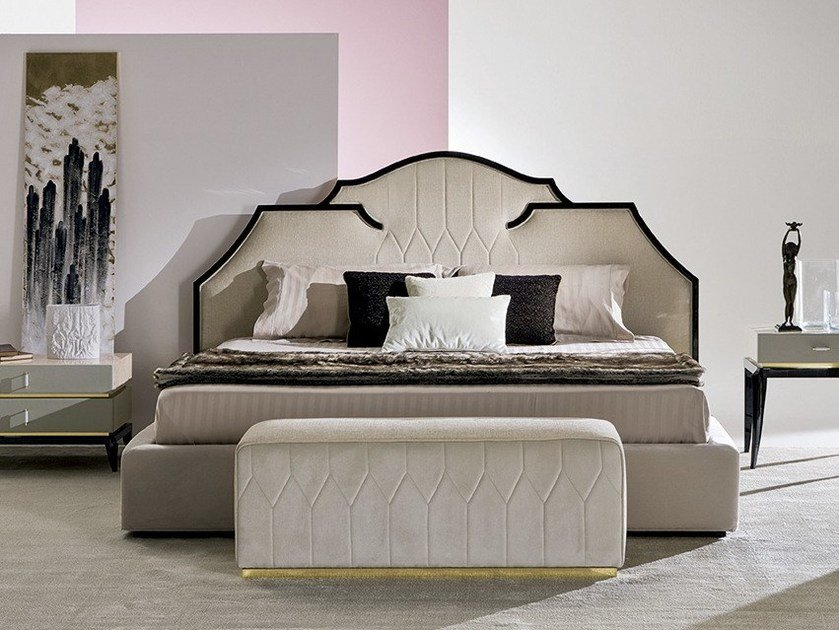 Bed double bed with upholstered headboard ZEFIRO by Rozzoni