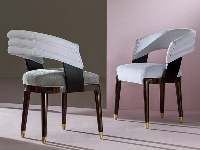 Upholstered fabric chair GRECALE by Rozzoni