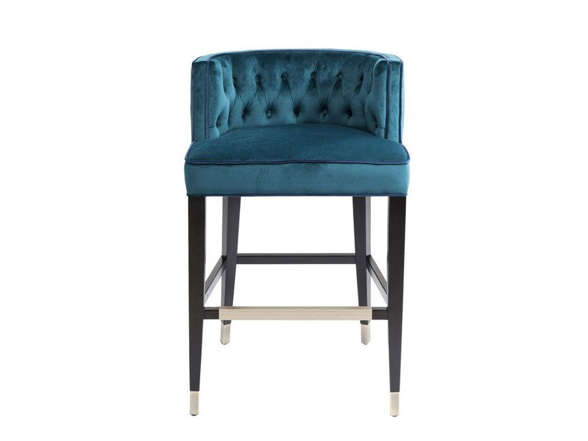 Tufted fabric barstool ARISTO | Barstool by KARE-DESIGN