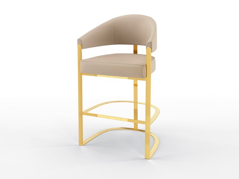 High upholstered leather barstool ARISTON | Barstool by BRUNO ZAMPA