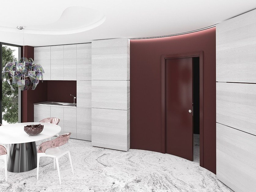 Single Frame Curved System For Sliding Doors ARKIMEDE SINGLE DOOR By  Ermetika