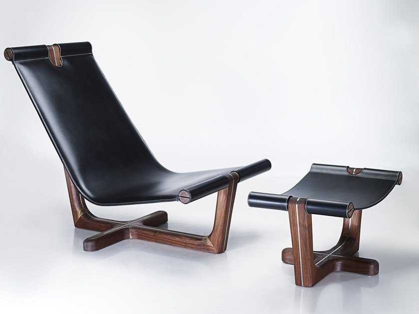 High-back leather armchair ARMADA | Armchair by HOOKL und STOOL