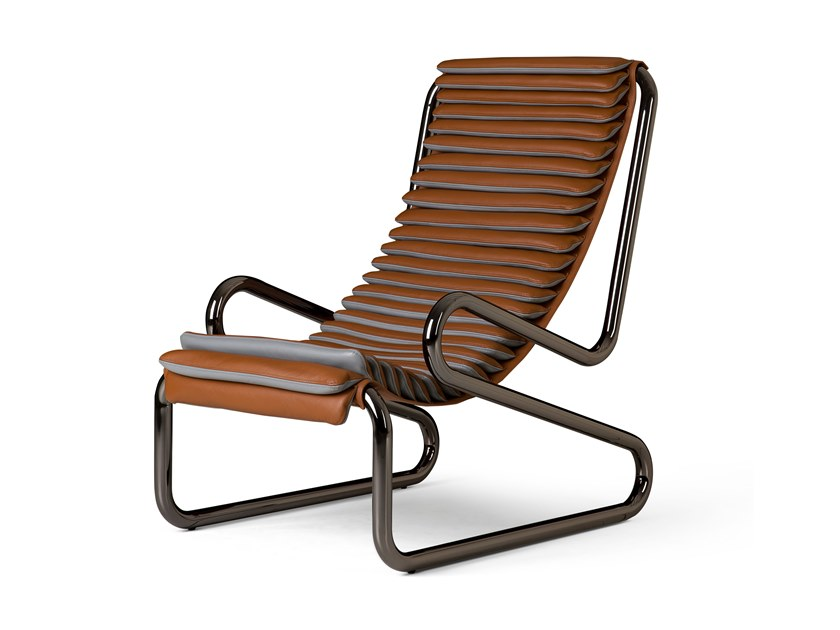 High-back leather armchair with armrests ARMADILLO by Busnelli