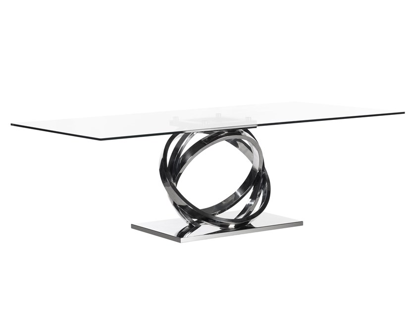Rectangular tempered glass dining table ARMILAR | Rectangular table by Green Apple
