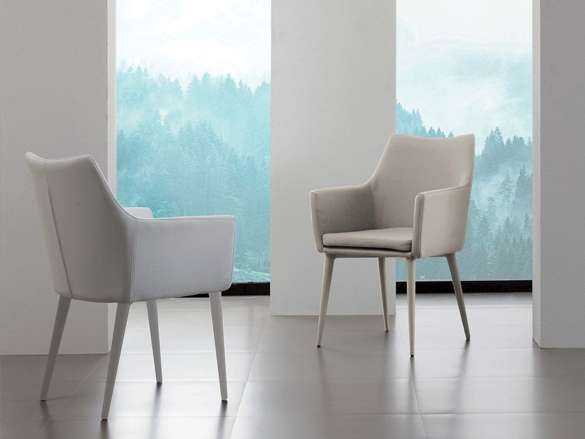 Upholstered Eco-leather chair with armrests ARMONIA by La seggiola