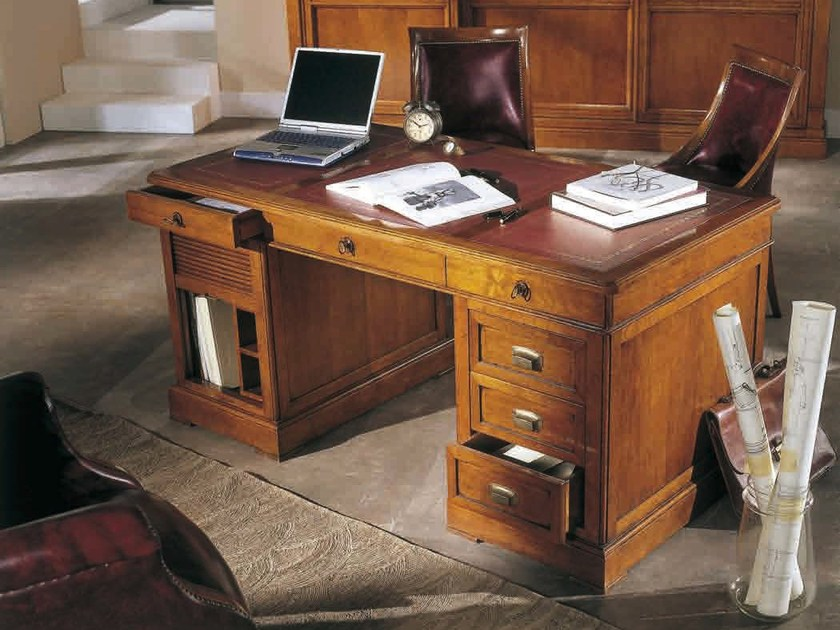 Solid Wood Executive Desk With Drawers Gonzaga Office By Arvestyle