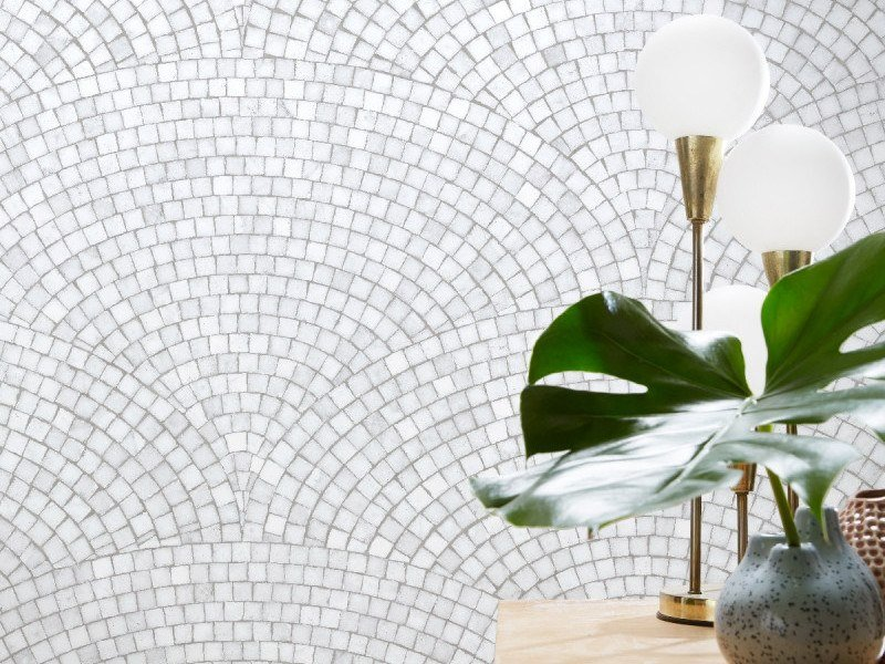 Washable nonwoven wallpaper ART DECO MOSAIC LIGHT GREY | Wallpaper by Koziel