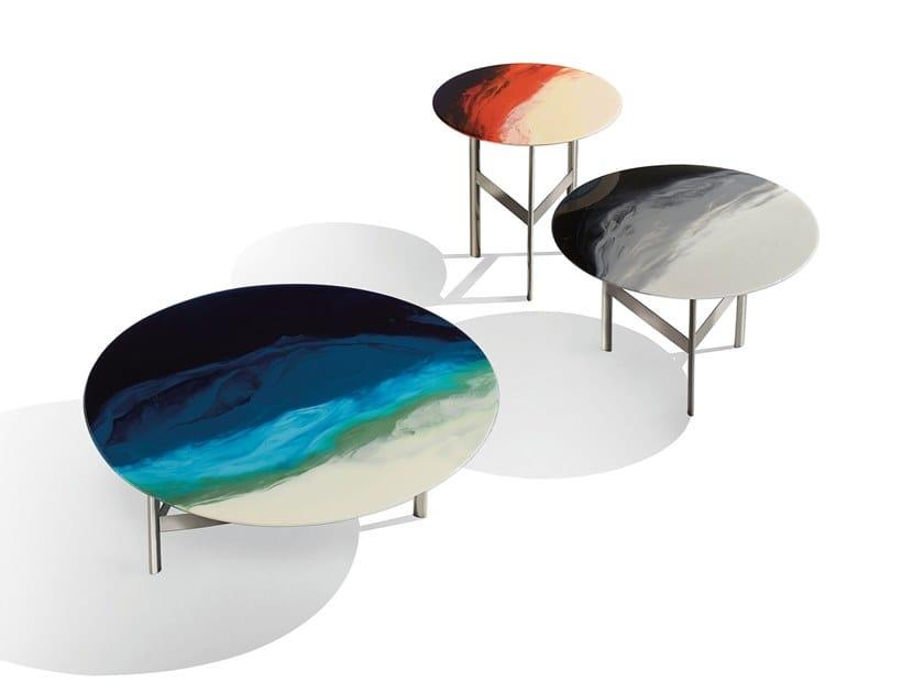 Tavolino rotondo in acciaio e vetro ART GLASS by MissoniHome