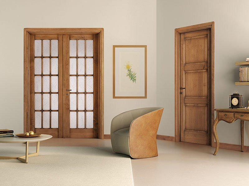 Wood and glass door ARTE POVERA by LEGNOFORM