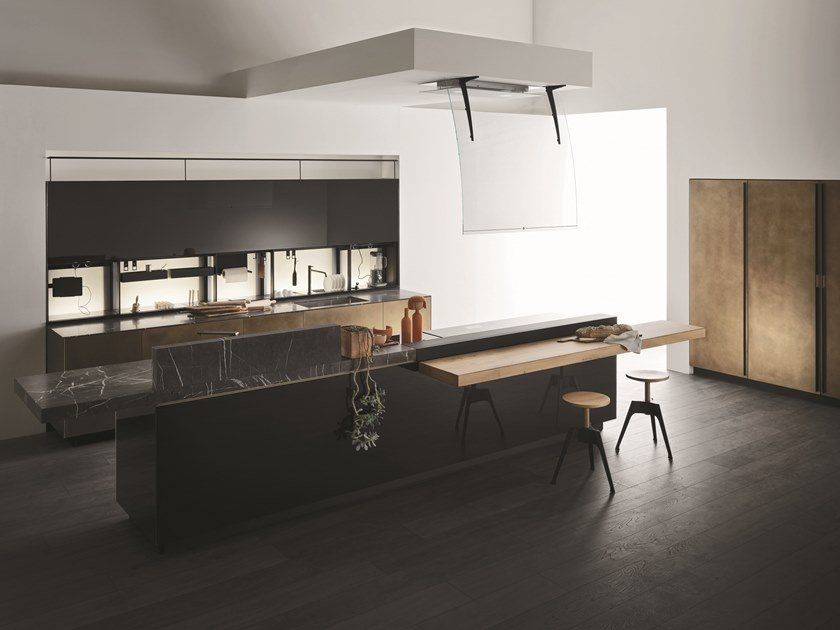 Contemporary style metal kitchen with island without handles ARTEMATICA DISTRESSED BRASS by VALCUCINE