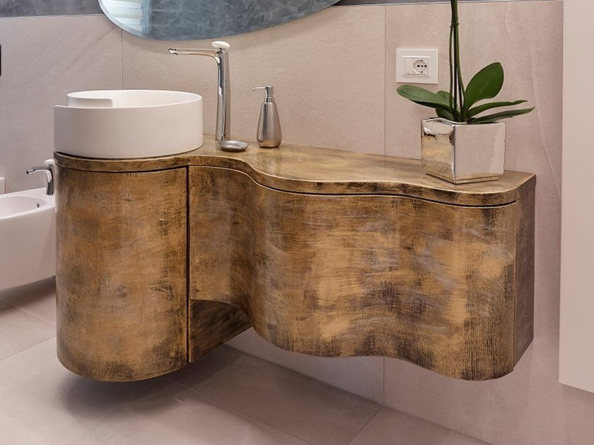 Wall-mounted solid wood vanity unit with drawers ARTHUR by IndakoLab