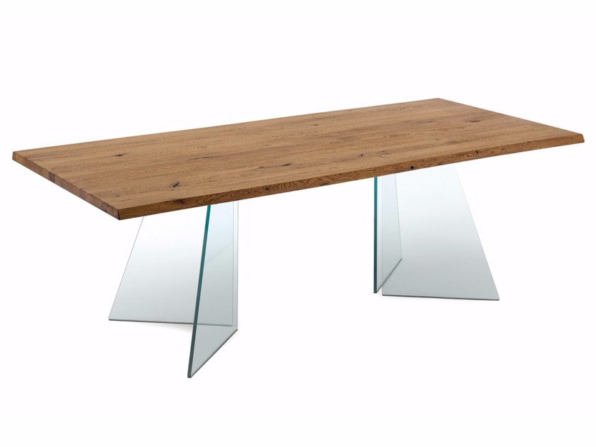Wood and glass table ARTIK by DOMITALIA