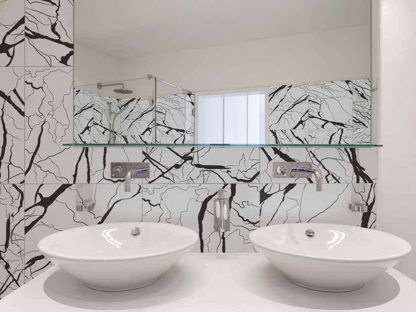 Glazed stoneware wall tiles with marble effect ARTWORK | Wall tiles with marble effect by ORNAMENTA
