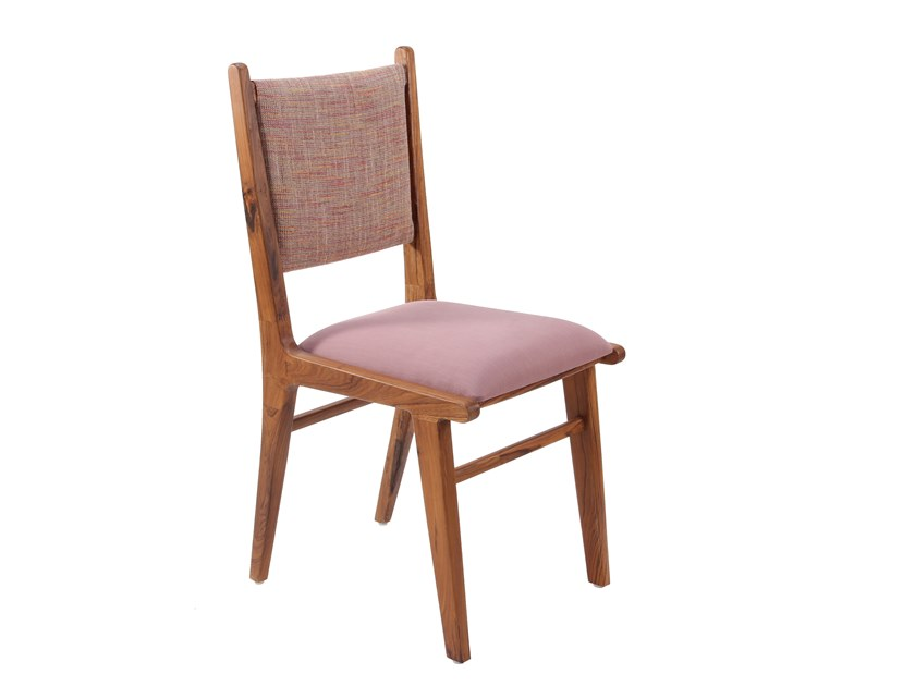 Teak chair with integrated cushion ASANDI | Chair with integrated cushion by ALANKARAM