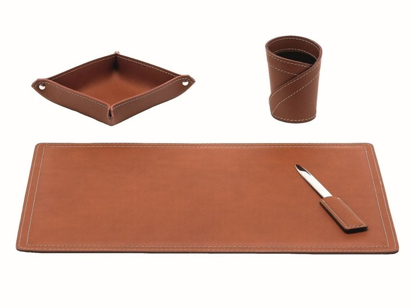 Bonded leather desk set ASCANIO 4 PZ by LIMAC design FIRESTYLE